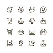 Chat bot icon set. Collection of high quality outline chat pictograms in modern flat style. Black artificial intelligence symbol for web design and mobile app on white background. Bots line icon.