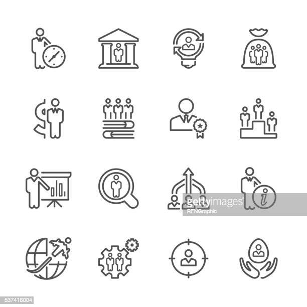 Flat Line icons - Business & Recruitment Series
