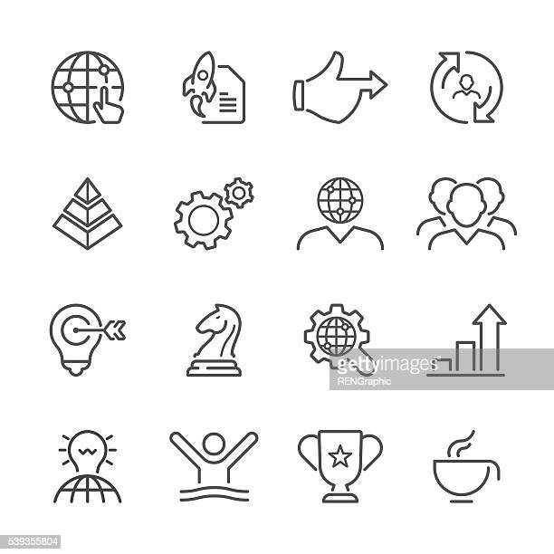 Flache Linie Symbole-Business-Serie