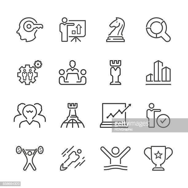 Flat Line icons - Business Strategy  Series