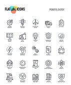 Set of flat line Power and Energy icons suitable for mobile concepts, web application, printed media and infographics projects. Vector Illustration