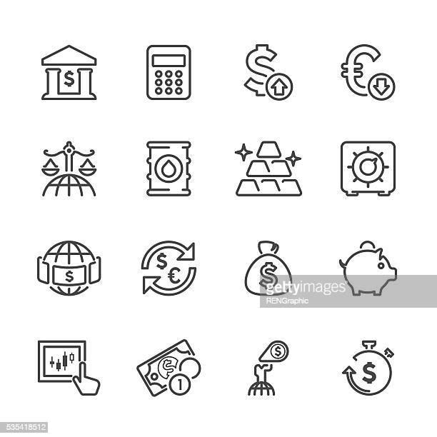 Flache Linie Symbole-Finanzen & Investitionen Serie