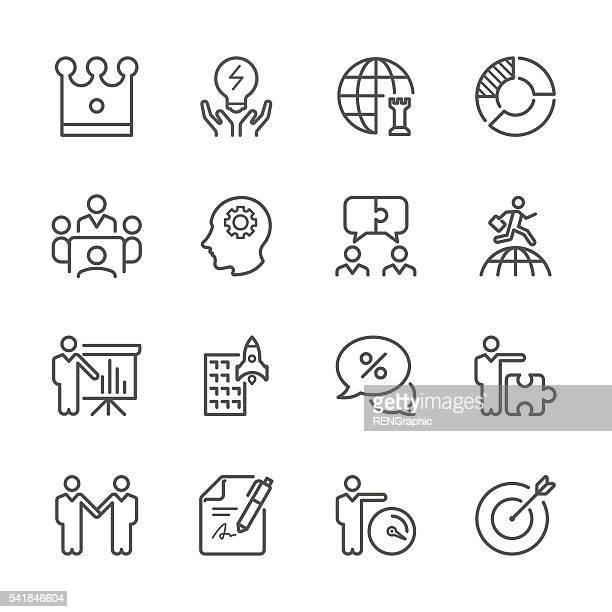 Flache Linie Symbole-globalen Geschäft und Strategie-Serie