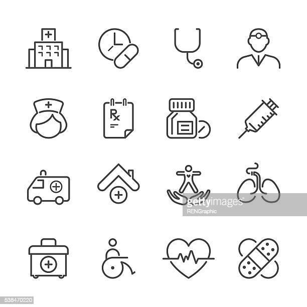 Piatto linea icone mediche Serie