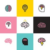 Set of flat line icons of brain, brainstorming, idea, and creativity
