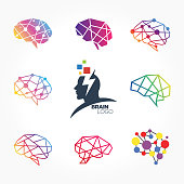 an amazing design of Flat line icons set of brain, brainstorming, idea, and creativity