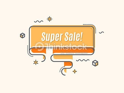 flat linear promotion ribbon banner scroll price tag sticker vector