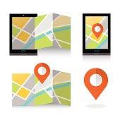 Mobile GPS Navigation concept. vector illustration