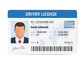 Flat man driver license plastic card template, id card vector illustration.