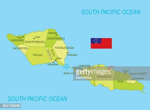 Basic Map Of Samoa Including Boundary Lines Vector Art Getty Images - Map samoa
