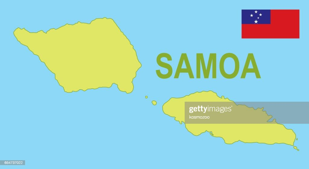 Flat Map Of Samoa With Flag Vector Art Getty Images - Samoa map vector