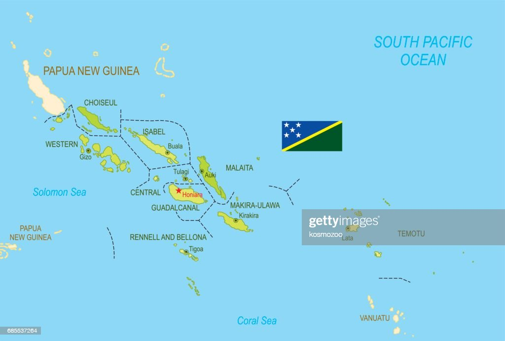 Flat Map Of Solomon Islands With Flag Vector Art Getty Images - Solomon islands map