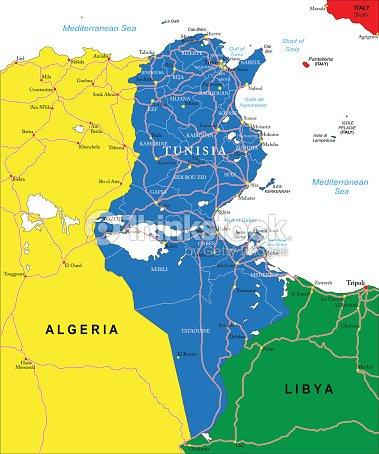 Tunesien Karte.Tunesien Karte Vektorgrafik Thinkstock