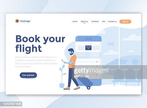 Moderno diseño de plantilla Web plano - Reserve su vuelo : arte vectorial