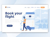 Landing page template of Book your flight. Modern flat design concept of web page design for website and mobile website. Easy to edit and customize. Vector illustration