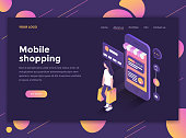 Modern flat design isometric concept of Mobile Shopping for website and mobile website. Landing page template, dark theme. Easy to edit and customize. Vector illustration