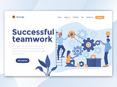 Landing page template of Successful teamwork. Modern flat design concept of web page design for website and mobile website. Easy to edit and customize. Vector illustration