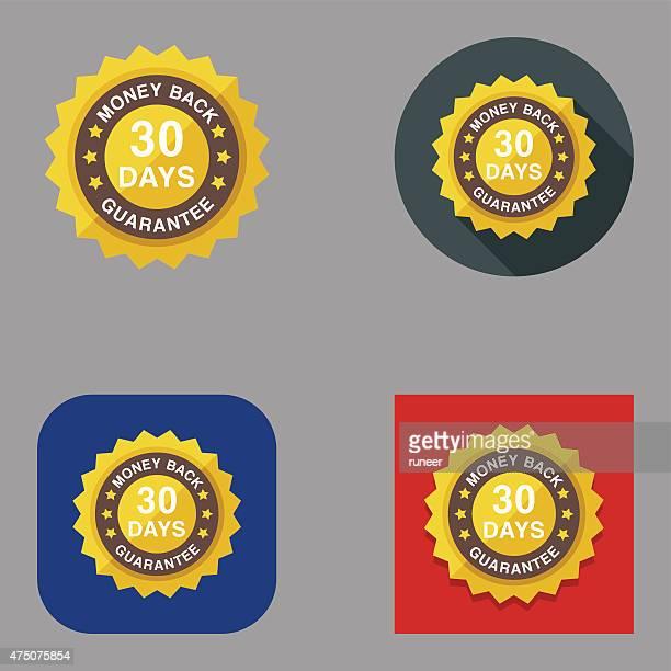 Flat Money Back Guarantee Badge icons | Kalaful series