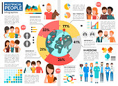 Flat multiracial people infographic template with diagram men and women of different ethnicities in various spheres of life vector illustration