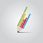 Colorful Vector Flat Pen Design Concept.