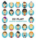 22 flat people characters avatars icons set. Many modern city people vector cartoon illustration. Isolated on white background
