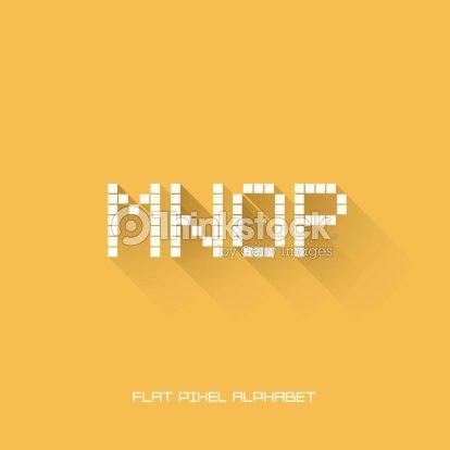 M N O P Flat Pixel Alphabet Vector Art | Thinkstock