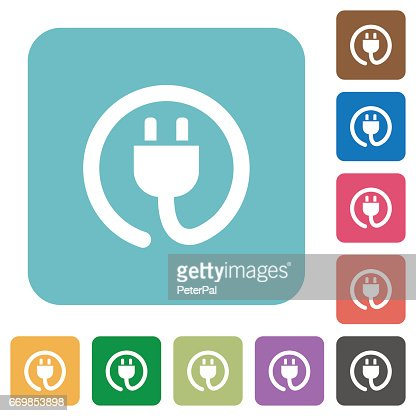 Flat power cord icons : stock vector