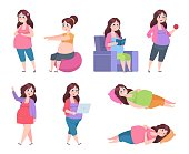 Flat pregnant woman. Healthy exercises for moms, pregnancy diet, happy young mom reading, sleeping and resting. Vector set