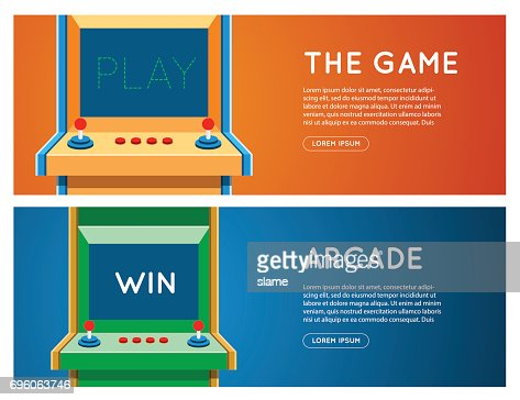 Flat retro game machine banner set. : Vector Art