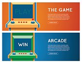 Old Arcade machine vector banner. Flat retro game machine banner set.