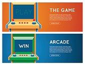 Old Arcade machine vector banner. Flat retro game machine banner set.
