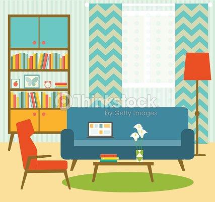 Flat Retro Living Room Vector Illustration Vector Art | Thinkstock