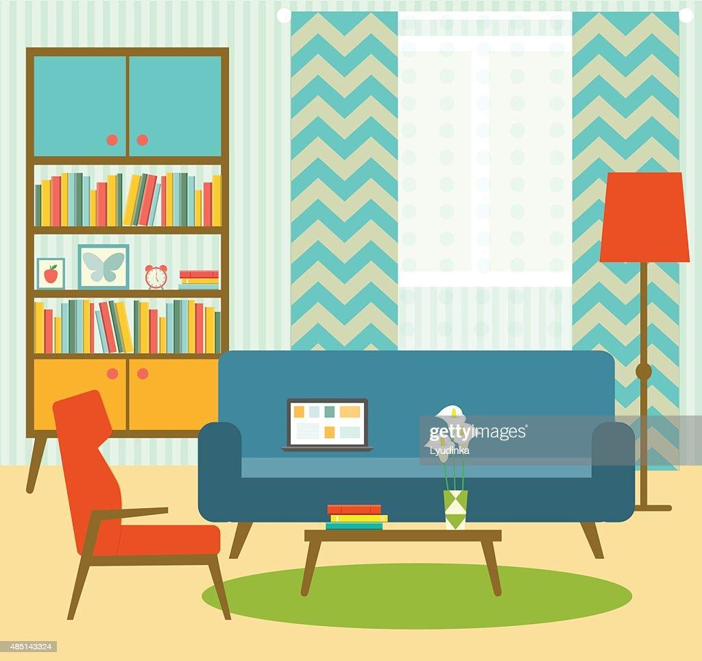 Flat Retro Living Room . Vector Illustration : Vector Art