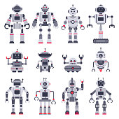 Flat robots. Electronic robot toys, cute chat bot mascot and robotic toy smart transformer android, hi tech cyborg characters. Modern artificial intelligence vector isolated icons illustration set