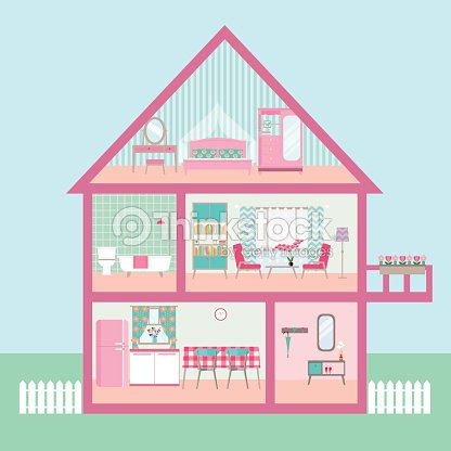 Flat Rose Dollhouse Section With Interior Living Room Vector ...