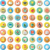 Set of modern flat round vector icons of school subjects, activities, education and science symbols in colorful circles with long shadows. Concepts for web site, mobile or computer apps, infographics