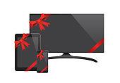 Vector Flat Screen TV Black Screen Phone Tablet With Ribbon