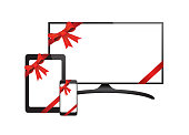 Vector Flat Screen TV White Screen Phone Tablet With Ribbon