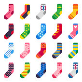 Flat socks. Long sock for child feet, elastic colorful fabric and striped Xmas warm kids ankle or sport feet cotton or wool comfort clothes vector isolated icons set