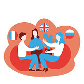 Flat speaking club and discussion class. Multilingual Cartoon students learn English, French and Russian in school, learning foreign languages course. Conversation with flag in speech bubble