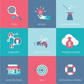 Flat start up business design icons set pitch big idea community funding platform investing model goal recoverable lending modern web click infographics style vector illustration concept collection.