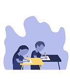 Flat style. Back to school! Cute school children. Vector illustration. EPS10