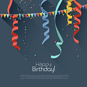 Birthday background with colorful confetti - modern flat style..