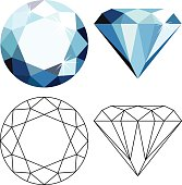 Decorative abstract blue diamonds isolated on white. Flat style icon