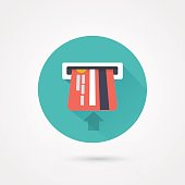 Flat style with long shadows, atm card vector icon illustration.
