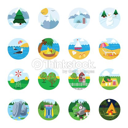 Flat stylish detailed landscape season travel tourism icon set. Winter mountain forest summer sea beach autumn harvest countryside hiking tent. Nature collection.