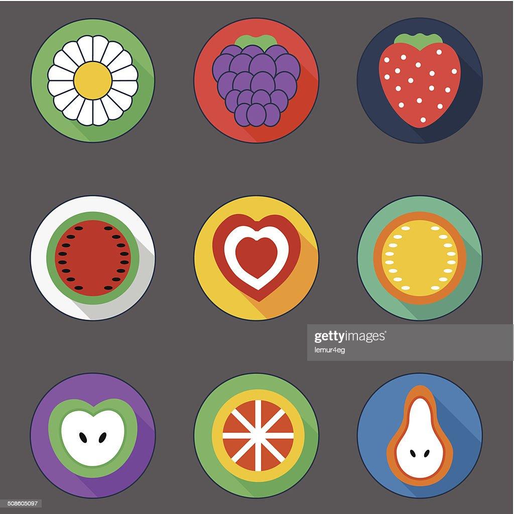 Verano, iconos plana : Arte vectorial