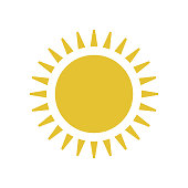 Flat sun icon. Sun pictogram. Trendy vector summer symbol for website design, web button, mobile app. Template vector illustration.
