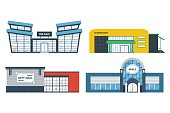 Flat supermarket. Shopping mall building. Set of colorful funny cartoon store city buildings. Market shop place. Business marketing collection. Infographic elements. Isolated vector illustration.