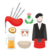 Flat symbol of Scotland, United Kingdom. Man bagpiper in national clothing, scottish musical instrument bagpipe and thistle sign. Food traditional haggis, whiskey, beer and eggs.